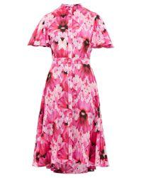 Alexander McQueen エンデインジャードゥ フローラル シルククレープドレス Pink