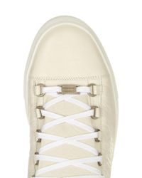 Balenciaga Natural Arena Leather Low-Top Sneakers for men