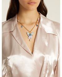 Dolce & Gabbana | Metallic Hydrangea And Butterfly-embellished Necklace | Lyst