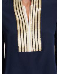 Zeus + Dione Blue Mandarin Collar V-neck Silk Blouse