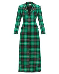 MARINE SERRE Green Single-breasted Tartan Coat
