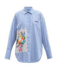 MSGM フローラルパッチ ストライプ コットンブレンドシャツ Blue