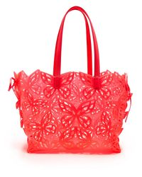 Sophia Webster Red Liara Laser-cut Leather-trimmed Tote Bag