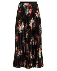 Erdem Black Nesrine Floral-print Pleated Skirt