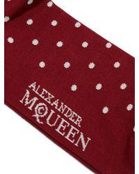 Alexander McQueen - Red Polka-dot And Skull-jacquard Socks for Men - Lyst