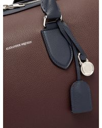 Alexander McQueen Brown Colour Block Leather Duffle Bag for men