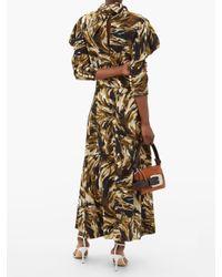 Proenza Schouler ハイネック フェザー クレープドレス Multicolor