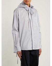 Craig Green Blue Striped Tie Neck Hooded Cotton Shirt