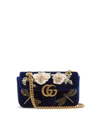 f74472bf7af4d Lyst - Gucci Gg Marmont Mini Quilted-velvet Cross-body Bag in Blue