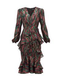 Saloni Alya メタリックジャカードドレス Multicolor