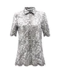 Paco Rabanne コーティングレース ロングラインシャツ Gray