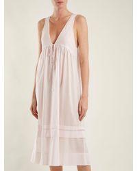 Three Graces London Pink Lindera V Neck Pleated Cotton Nightdress