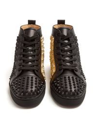 Christian Louboutin Black Louis Spike-embellished High-top Trainers for men