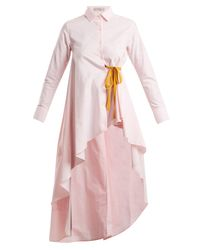 Palmer//Harding Pink Tie-waist Dip-hem Cotton Shirt