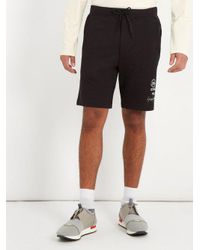 Y-3 Black Logo-print Straight-leg Jersey Shorts for men