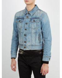 Saint Laurent Blue Grease-effect Denim Jacket for men