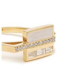 Azlee - Multicolor White Light Diamond, Enamel & Yellow-gold Ring - Lyst