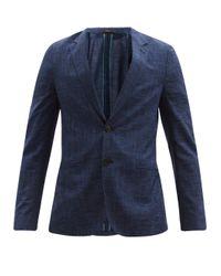 メンズ Paul Smith ソーホー チェック ウールブレンド シングルジャケット Blue