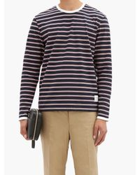 メンズ Thom Browne ボーダー コットン ロングスリーブtシャツ Blue