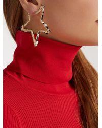 Valentino - Metallic Star-shaped Crystal Hoop Earrings - Lyst