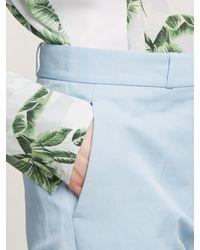 Stella McCartney Blue Straight-leg Cotton-blend Trousers