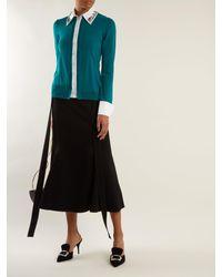Mary Katrantzou Green Bextor Crystal Embellished Wool Cardigan