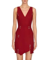 Mugler Red Asymmetric Hem Wool-blend Dress