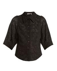 Chloé | Black Broderie-anglaise Point-collar Shirt | Lyst