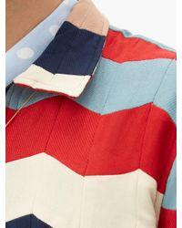 メンズ Bode シェブロン コットン ロングスリーブポロシャツ Multicolor