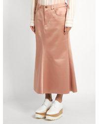 Sies Marjan Pink Ghotus Flared Bonded-satin Skirt