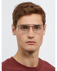 Prada - Metallic Aviator-frame Metal Glasses for Men - Lyst