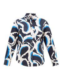Marni Blue Printed Cotton-poplin Shirt