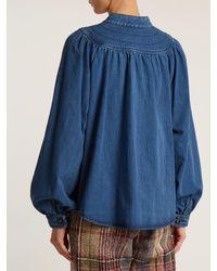 Chloé - Blue Long-sleeved Gathered-yoke Denim Shirt - Lyst