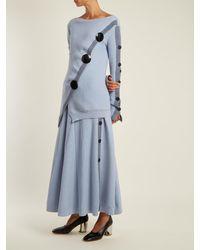 Jupe trapèze boutonnée Kaori Roksanda en coloris Blue