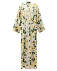 Dolce & Gabbana カメリアプリント シルクブレンド シャルムーズドレス Yellow