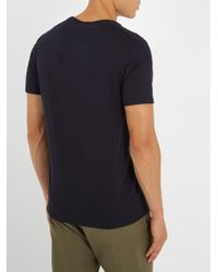American Vintage Blue Denver Crew-neck Cotton T-shirt for men