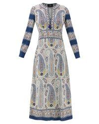 Etro カプリ ペイズリー クレープドレス Blue