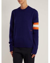 CALVIN KLEIN 205W39NYC - Blue Contrasting-sleeve Cashmere Sweater - Lyst