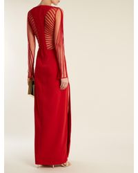Versace Red Striped Tulle And Crepe Gown