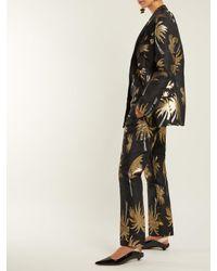 MSGM Palm Tree メタリックジャカード サテンパンツ Multicolor