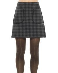 Leon Max   Gray Plaid Doubleknit A-line Skirt   Lyst