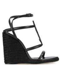Saint Laurent Black Leather Wedges