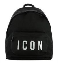 DSquared² Black Polyamide Backpack for men
