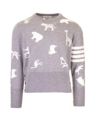 Thom Browne WOLLE SWEATER in Gray für Herren