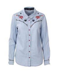 Desigual Light Blue Cotton Shirt