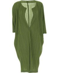 Pleats Please Issey Miyake Green Polyester Cardigan