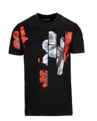 Neil Barrett Black Spliced Flower T-shirt for men