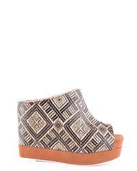 Jeffrey Campbell Metallic Gold Fabric Sandals