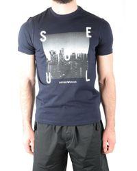 Emporio Armani BLAU BAUMWOLLE T-SHIRT in Blue für Herren