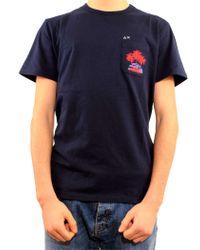 Sun 68 Blue Cotton T-shirt for men